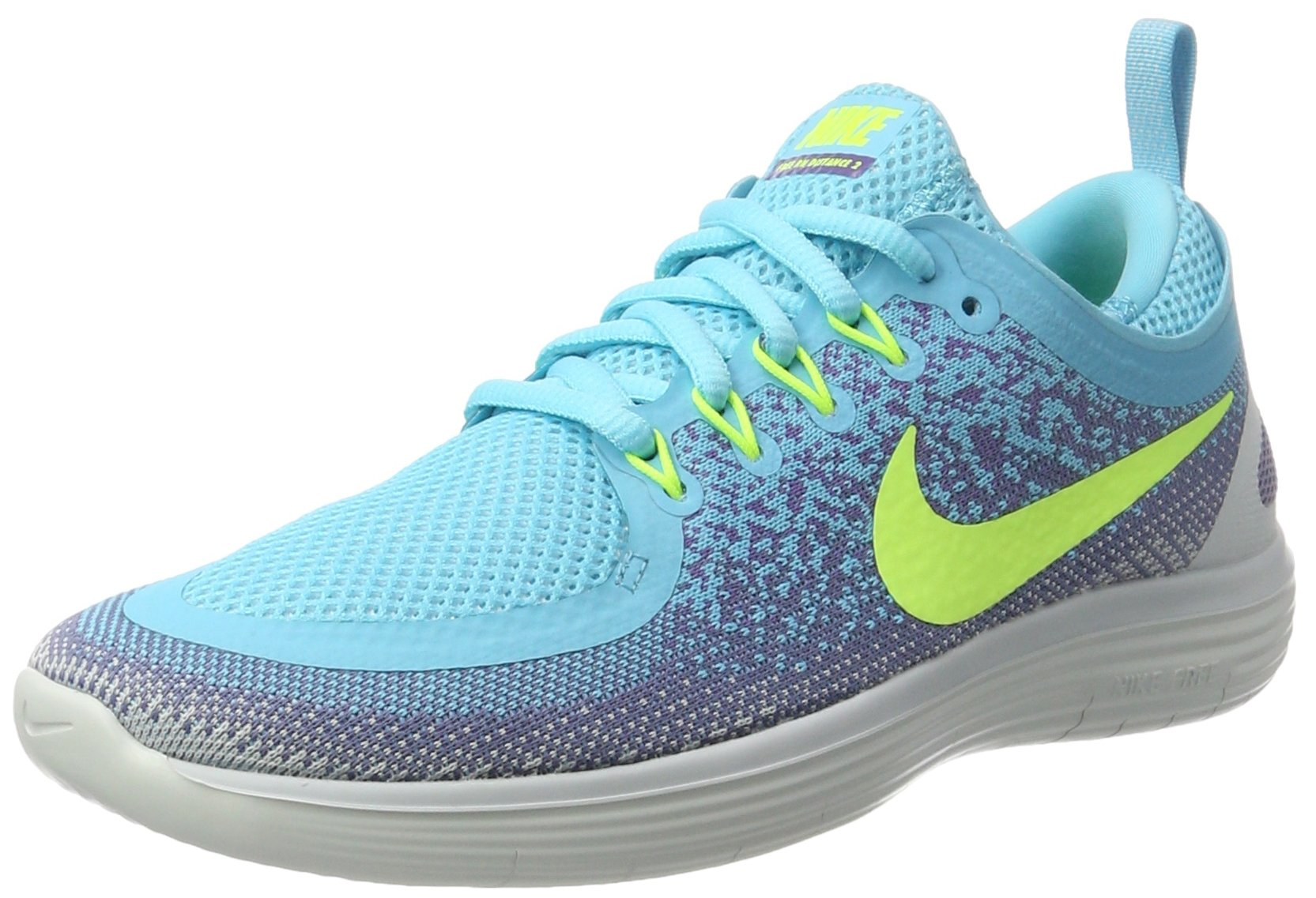 sale retailer 9aa6a 29701 Galleon - NIKE Women s Free RN Distance 2 Running Shoe Polarized  Blue Volt-Iron Purple 8.5