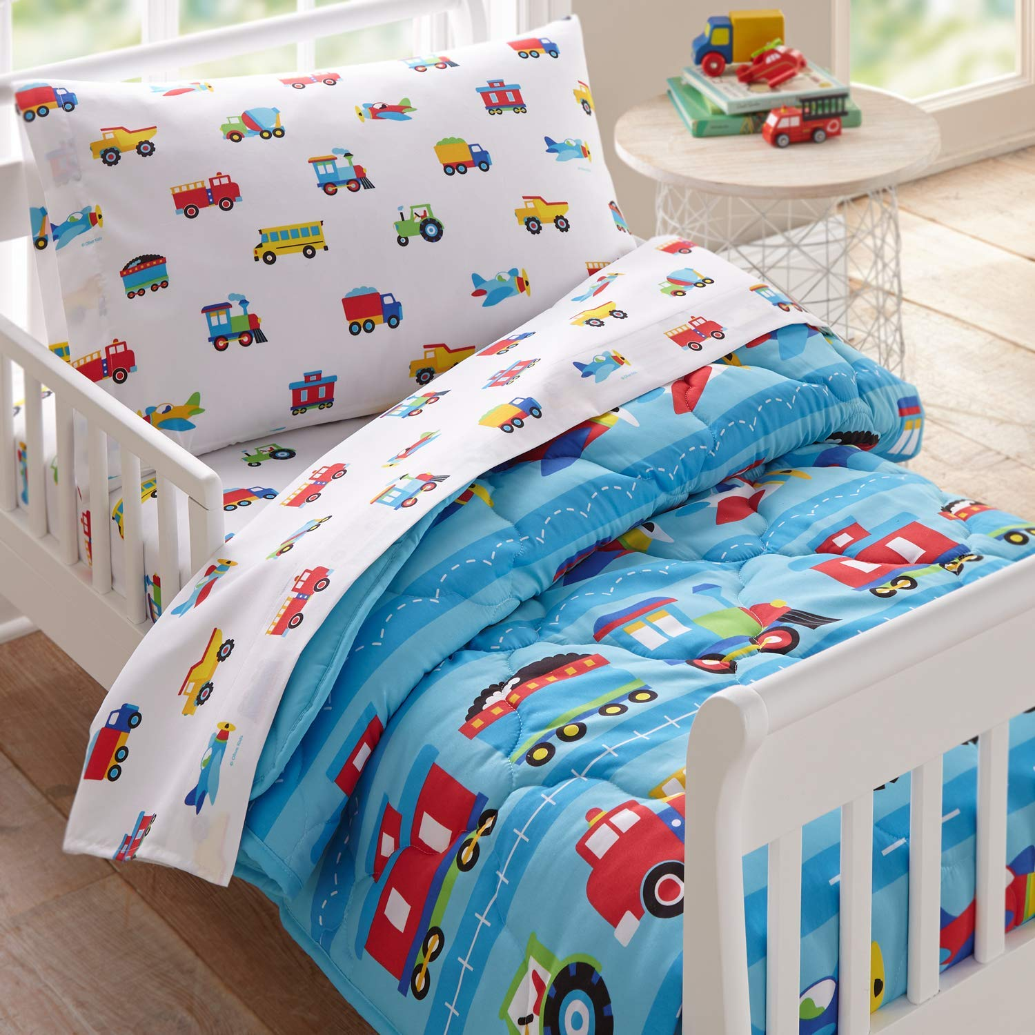 Wildkin Kids 4 Pc Toddler Bed in A Bag for Boys and Girls, Microfiber Bedding Set