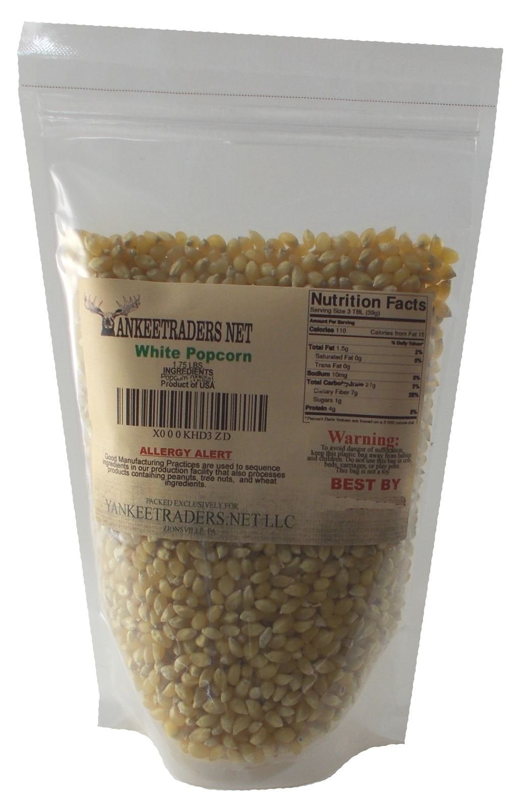 White Popcorn, 1 3/4 Lb Pack, Yankee Traders Brand