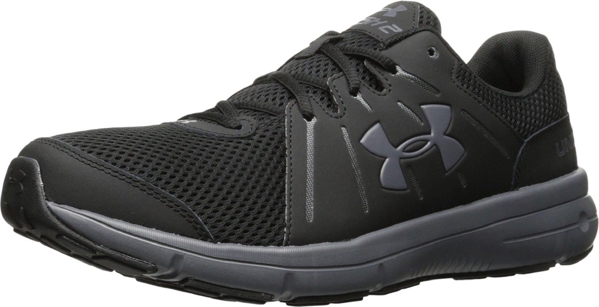 Under Armour Mens UA Dash RN 2 Black/Rhino Gray/Rhino Gray Athletic Shoe (10.5 4E - Extra Wide)