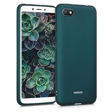 kwmobile Funda para Xiaomi Redmi 6A - Carcasa para móvil en [TPU Silicona] - Protector [Trasero] en [petróleo Metalizado]