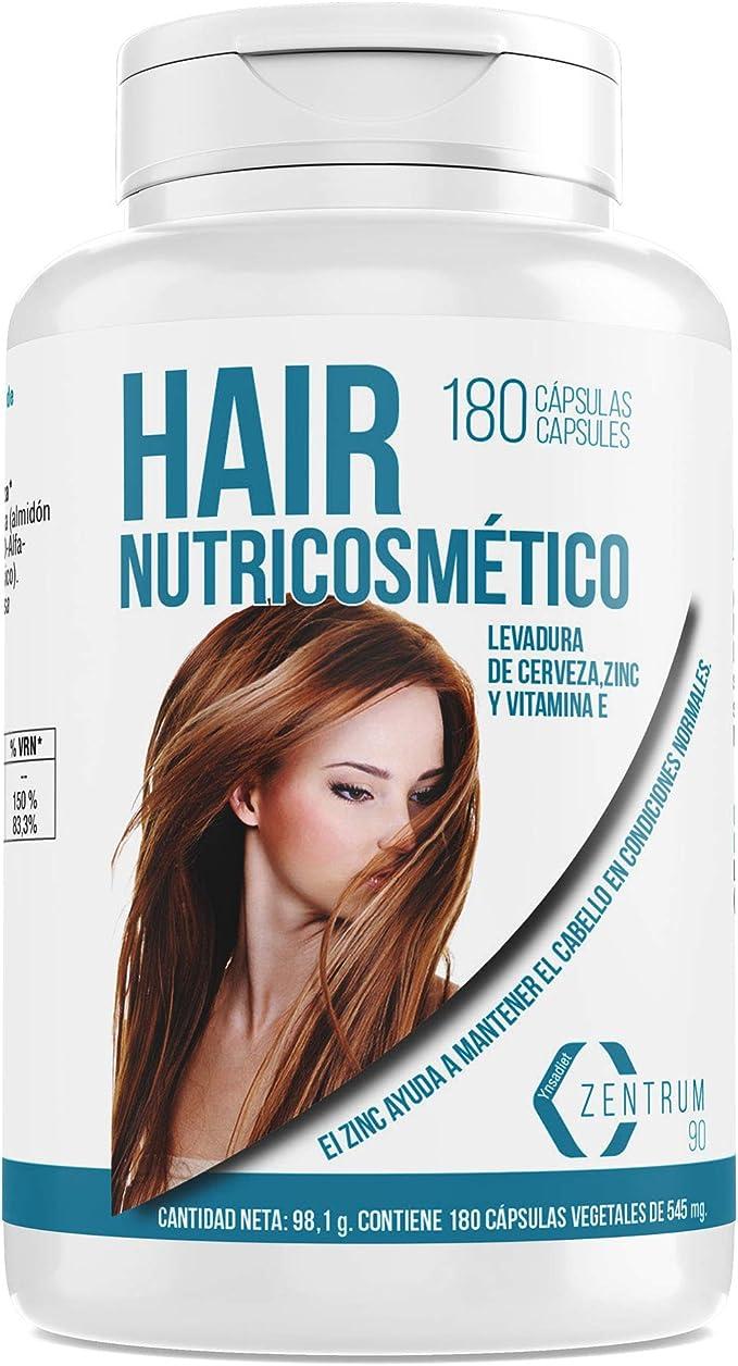 Vitaminas para el cabello - Suplemento alimenticio Para el Crecimiento del Cabello y Mantenimiento de Uñas- Zinc, levadura de cerveza y vitamina E – ...