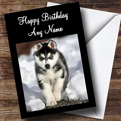 Amazon Com Siberian Husky Dog Personalized Birthday Greetings Card