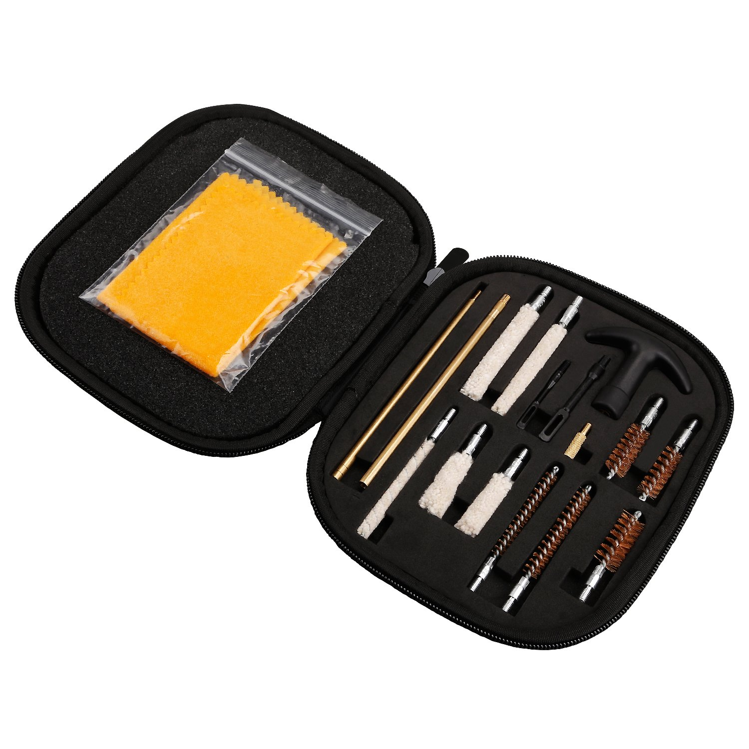 Gun Cleaning Kit Pistol Cleaning Kit with Brass Brushes and Cleaning Mops Perfect for .22,.27,.357(9mm),.40,.45cal Handgun Cleaning
