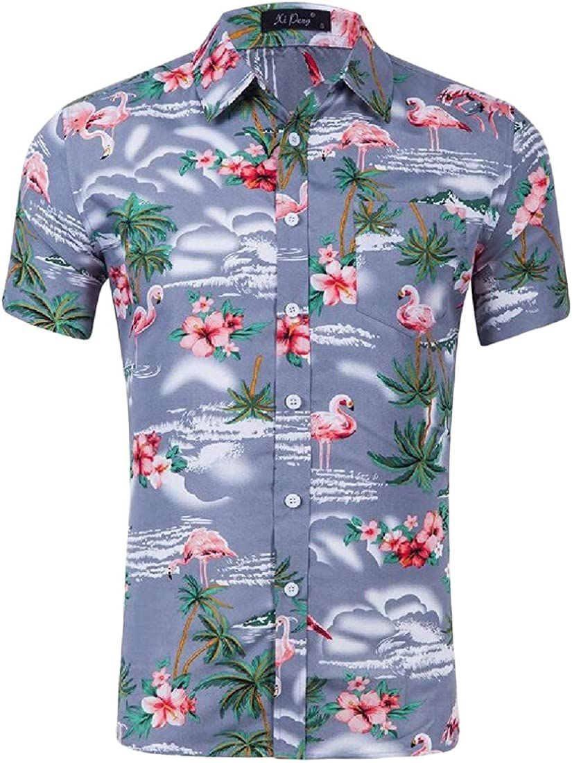 Cromoncent Men Summer Casual Short Sleeve Hawaii Tropical Button Front Shirts