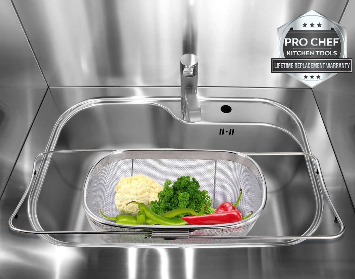 Over The Sink Strainer 6 Quart Stainless Steel Fine Mesh Sieve Kitchen  Colander Extendable Handles Pro Chef Kitchen Tools Commercial Professional  Restaurant ...