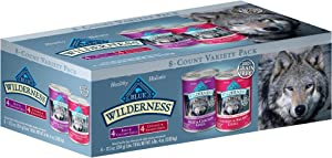 Blue Buffalo Blue Wilderness Grain Free Beef & Chicken, Chicken & Salmon Grill Variety Pack Wet Dog Food, 12.5 oz., Count of 8