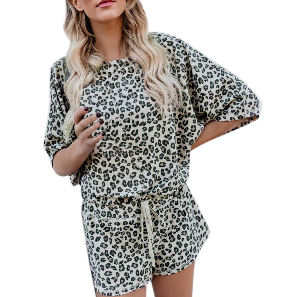 SUNSEE WOMEN'S CLOTHES PROMOTION Womens Open Leopard Splice Print Suit - Sport Casual Sexy Fashion Ladies Suit,2019 New Brown