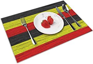 FLZTONG Uganda Wooden Texture Ugandan Flag Themed Dinnerware 4 Piece Pc Set of Placemats Party Decor Dining Room Home Ornament Table Food Dishes Mat Xmas Kitchen Dishware Picnic Decorations