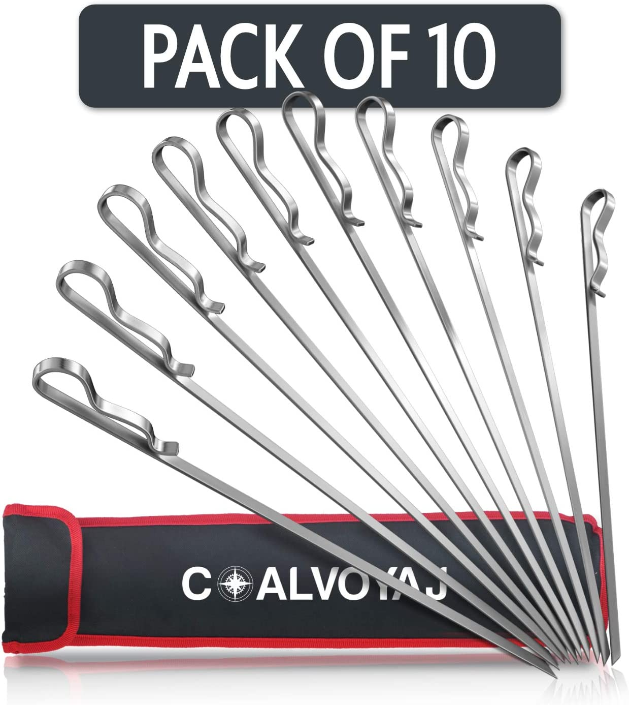 COALVOYAJ 17 Inch Flat Skewers for Grilling – Pack of 10 Stainless Steel Reusable Sticks for Shish Kebob Vegetables Meat, BBQ Barbecue Kabob Skewers with Storage Bag