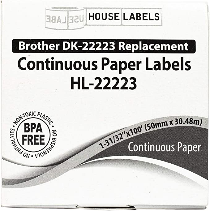 - BPA Free! SHPIS Fast 4 Rolls; Continuous Paper HouseLabels Compatible with Brother DK-2223 Continuous Paper Labels with ONE Reusable Cartridge 1 1-31//32 x 100; 50mm30.48m