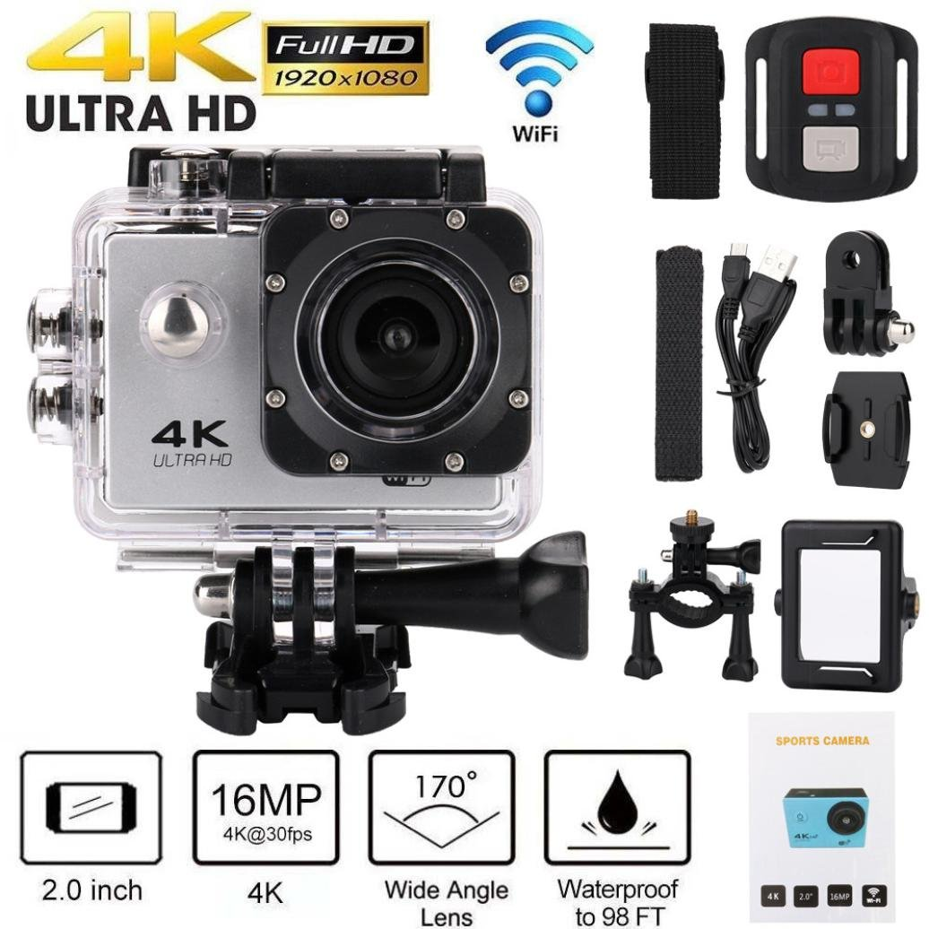 Action Camera 4K WiFi 1080P HD Remote Control Waterproof Sports Cam 170 Degree Wide-Angle DVR Camcorder Hometom