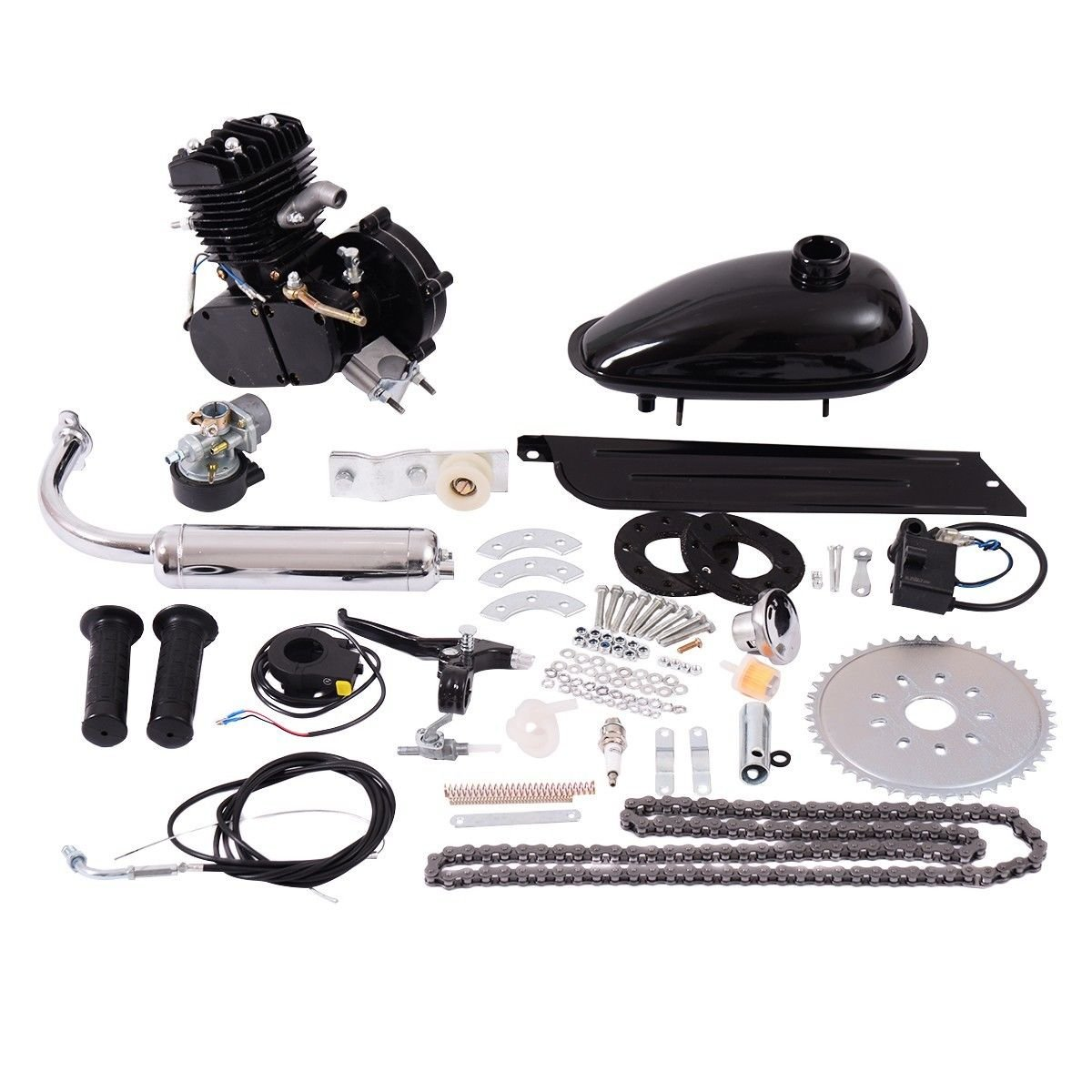 Black Bicycle Engine Motor Kit w/Spark Plug