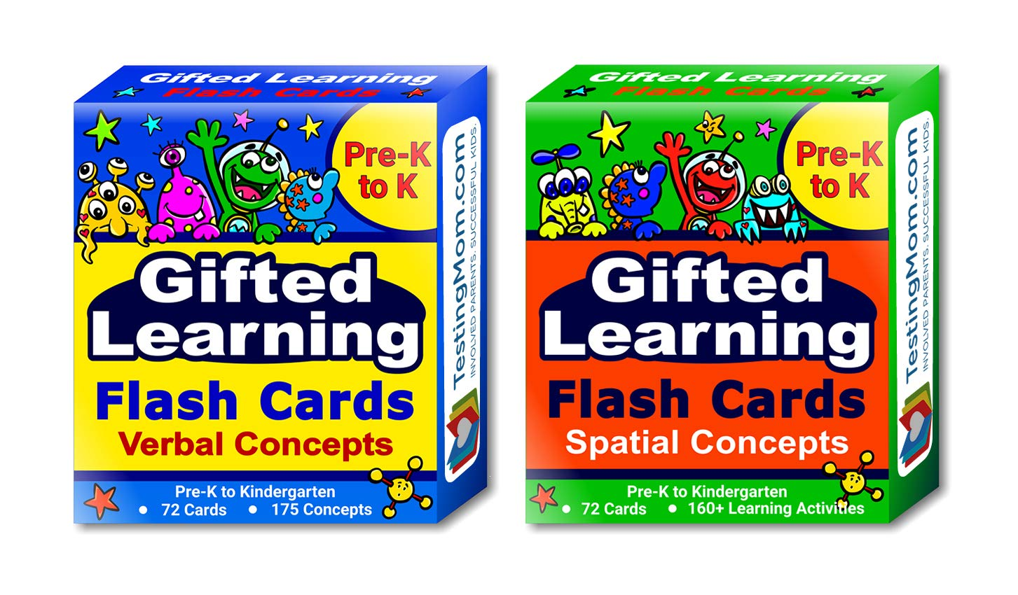 Gifted Learning Flash Cards (2-Pack) - Verbal and Spatial Concepts for Pre-K - Kindergarten - Practice for CogAT test, OLSAT test, NNAT test, NYC Gifted and Talented, ITBS test, WISC, WPPSI, AABL by TestingMom.com