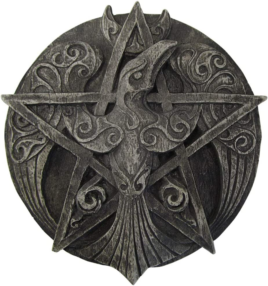 Crescent Raven Pentacle Wall Plaque Stone Finish