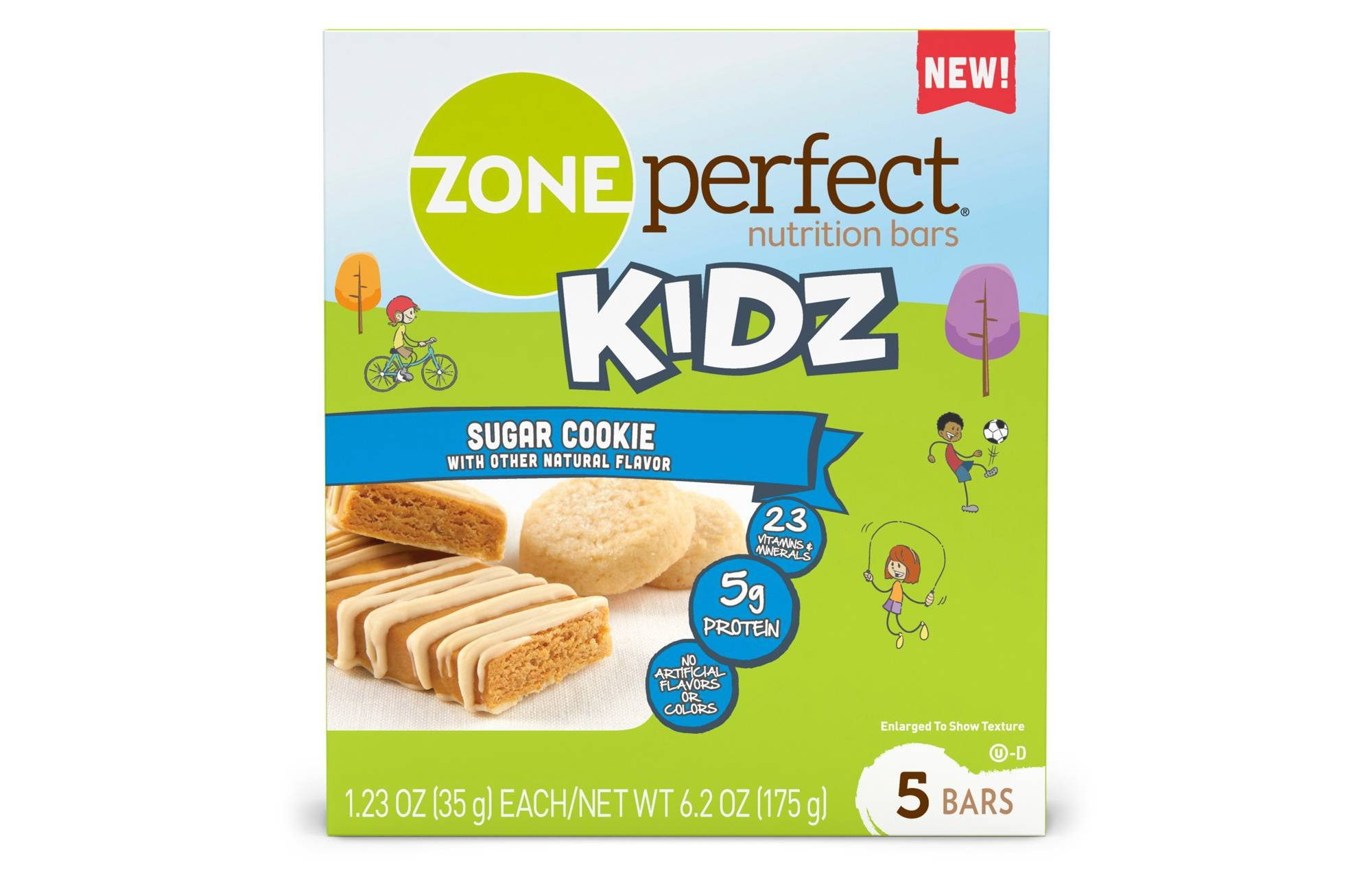 Zone Perfect Kids Sugar Cookie Nutrition Bars 1.23ozx 5 bars(total 6.15oz)