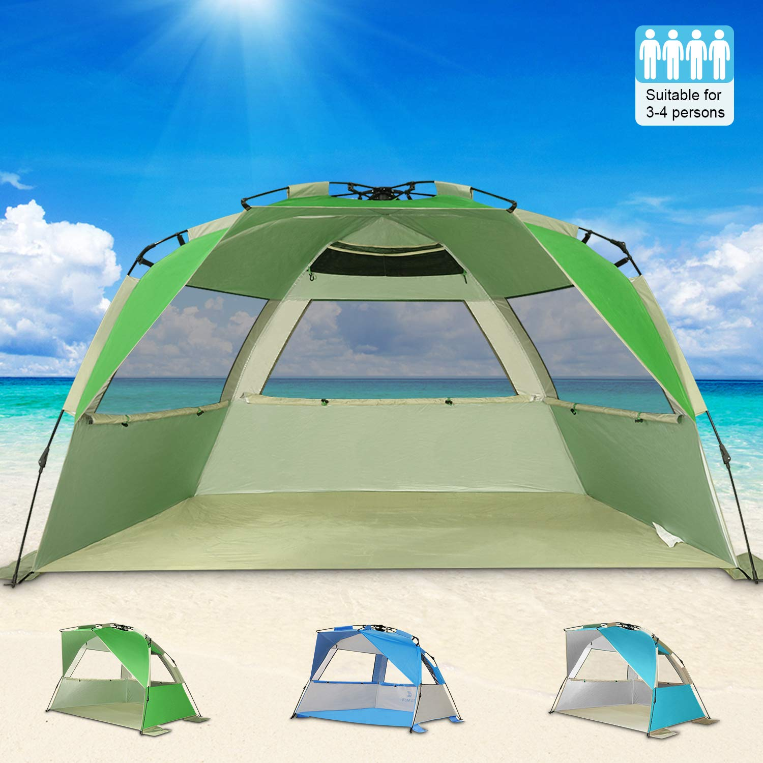 online retailer 93916 dd9e9 G4Free Easy Set up Beach Tent Deluxe XL, Portable 4 Person Pop up Sun  Shelter UPF 50+ UV Protection Large Family Beach Shade