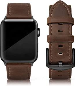 SWEES Leather Band Compatible for iWatch 42mm 44mm, Genuine Leather Replacement Wristband Strap Compatible iWatch Series 6, Series 5, Series 4, Series 3, Series 2, Series 1, SE Sports & Edition Men, Chocolate
