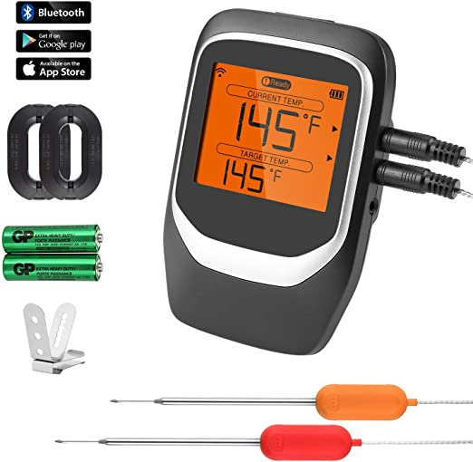 NEXGADGET Barbecue Thermometer Wireless Bluetooth Grilling//Meat Thermometer for Smoker Oven Kitchen BBQ,Digital Screen Magnetic Design,App Control IOS/&Android System with 2 Probes