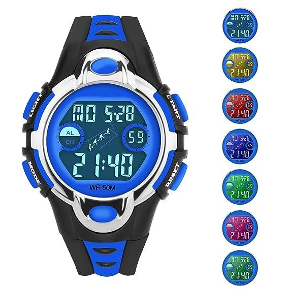Siniya - Reloj de cuarzo para niños, resistente al agua, reloj deportivo para natación
