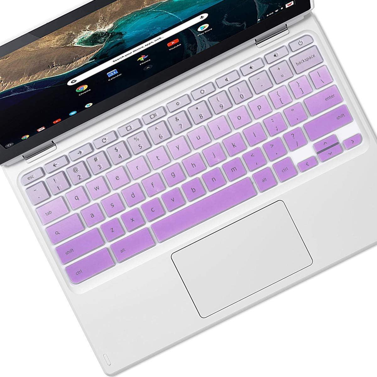 """Keyboard Cover Skin Design for 2020 2019 Lenovo Chromebook C330 11.6""""  Lenovo Flex 11 Chromebook 11.6""""  Lenovo Chromebook N20 N21 N22 N23 100e 300e 500e 11.6""""  Lenovo Chromebook N42 14"""", GradualPurple"""