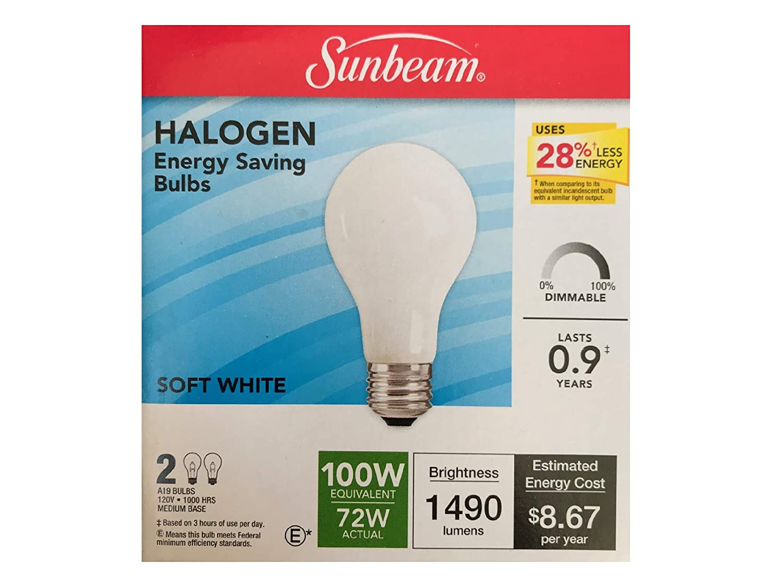 Soft White A19, 120V, 1490 Lumens, 100W=72W, Medium Base L/'Image Home Products Inc. Sunbeam Halogen 2 Light Bulbs
