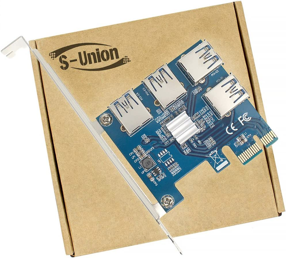 S-Union New 4 in 1 PCI-E Riser Adapter Board 1 to 4 PCI-E 1X Express USB3.0 PCI-E Rabbet Ethereum Mining ETH (4 in 1)
