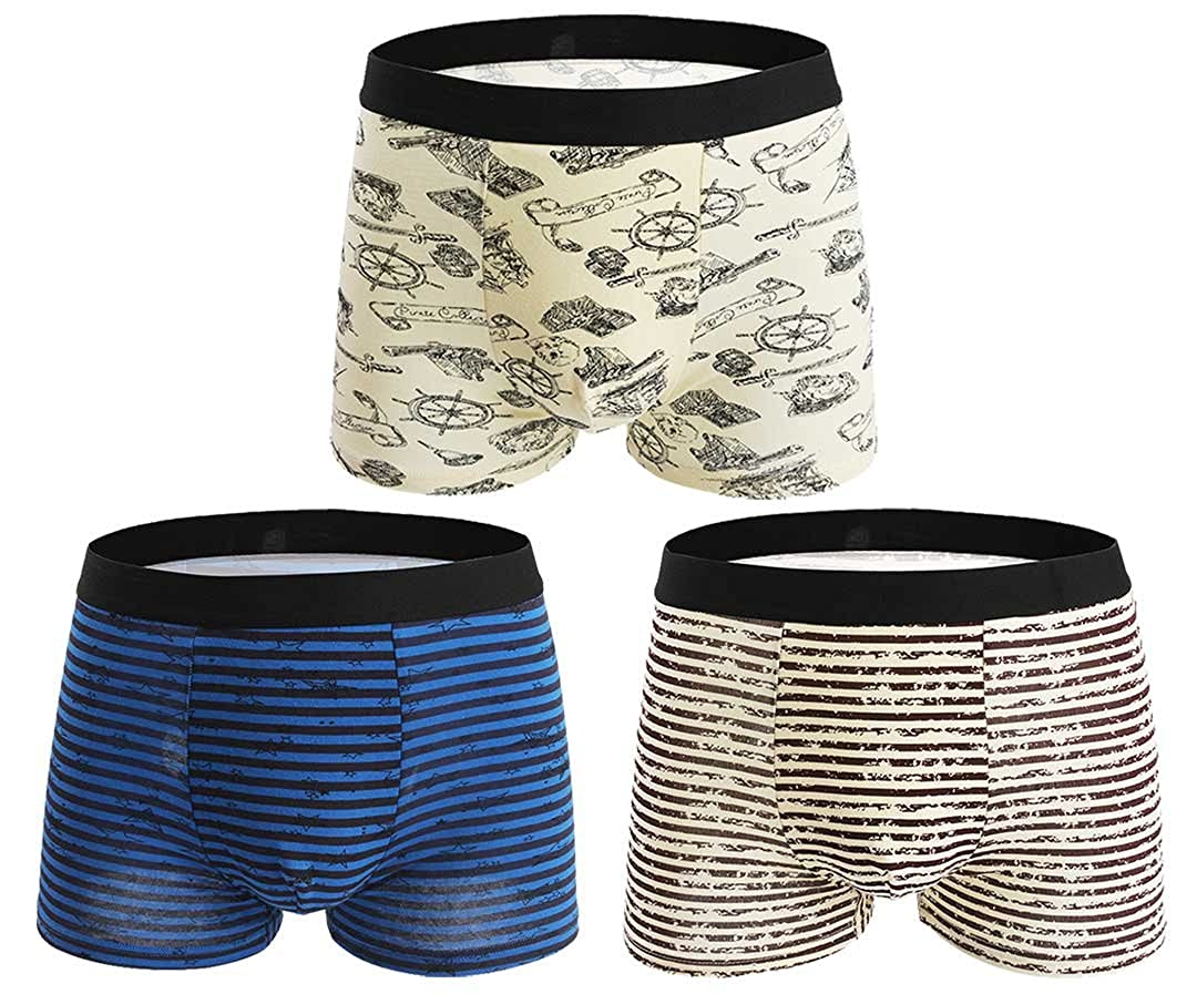 Seaoeey Boys Mens Boxer Briefs 3 Pack Cotton Modern Breathable Underwear