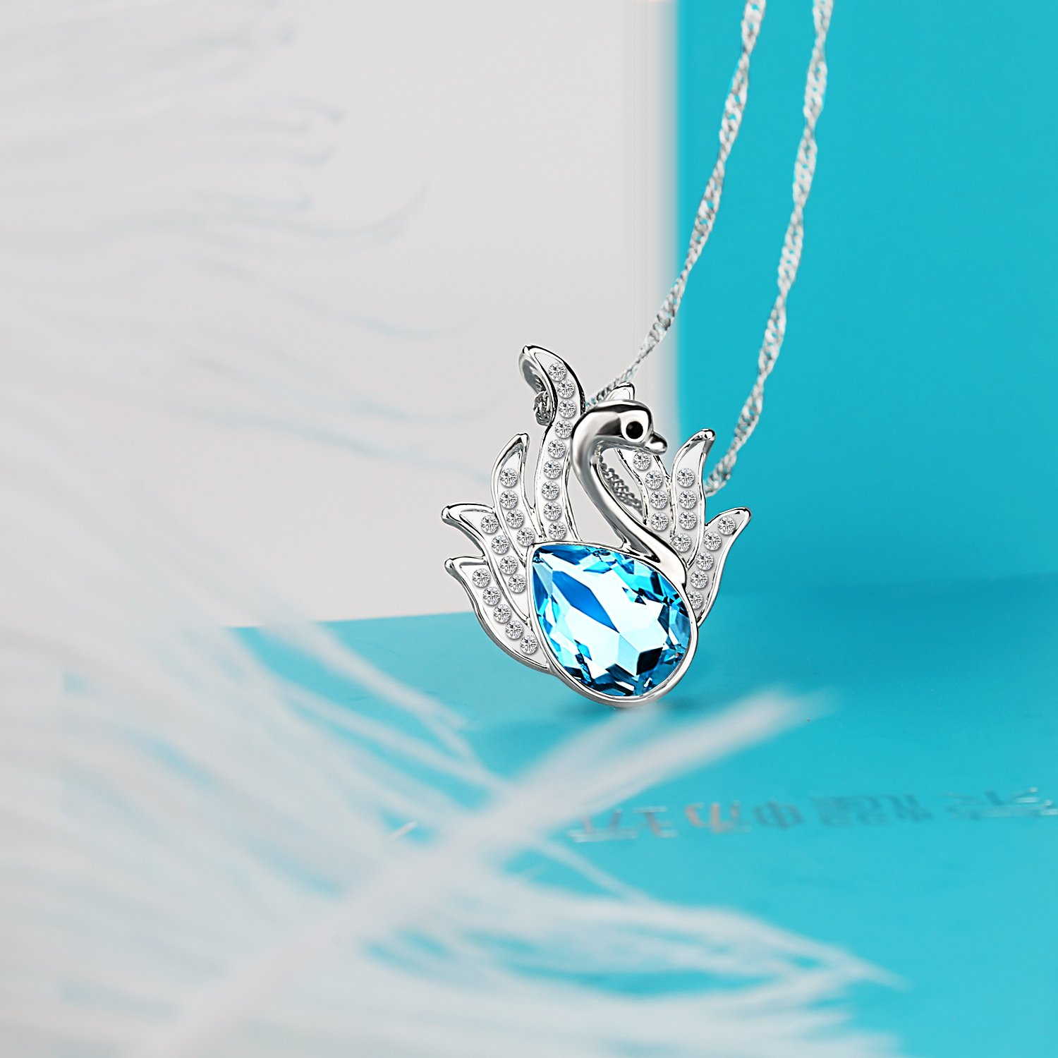 "Pealrich ""Swan Lake"" Pendant Love Women Necklace Made with Swarovski Crystal Elements Valentines Day Gifts Birthday Gifts Anniversary Gifts Christmas Gifts for Women Mom Grandma"