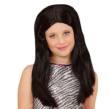 Peluca Negra para Niñas | Peluca Infantil Larga | Cabello Estrella de Rock | Pelo Carnaval