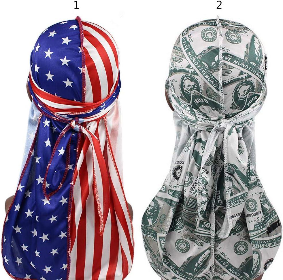 RROVE Unisex seidig Durags lustige Dollar amerikanische US-Flagge Print Bonnet Hat Pirate Cap