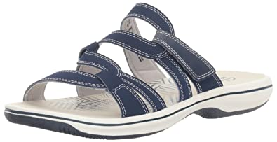 2329a9197 Image Unavailable. Image not available for. Color  CLARKS Women s Brinkley  Lonna Slide Sandal Navy 5 M US