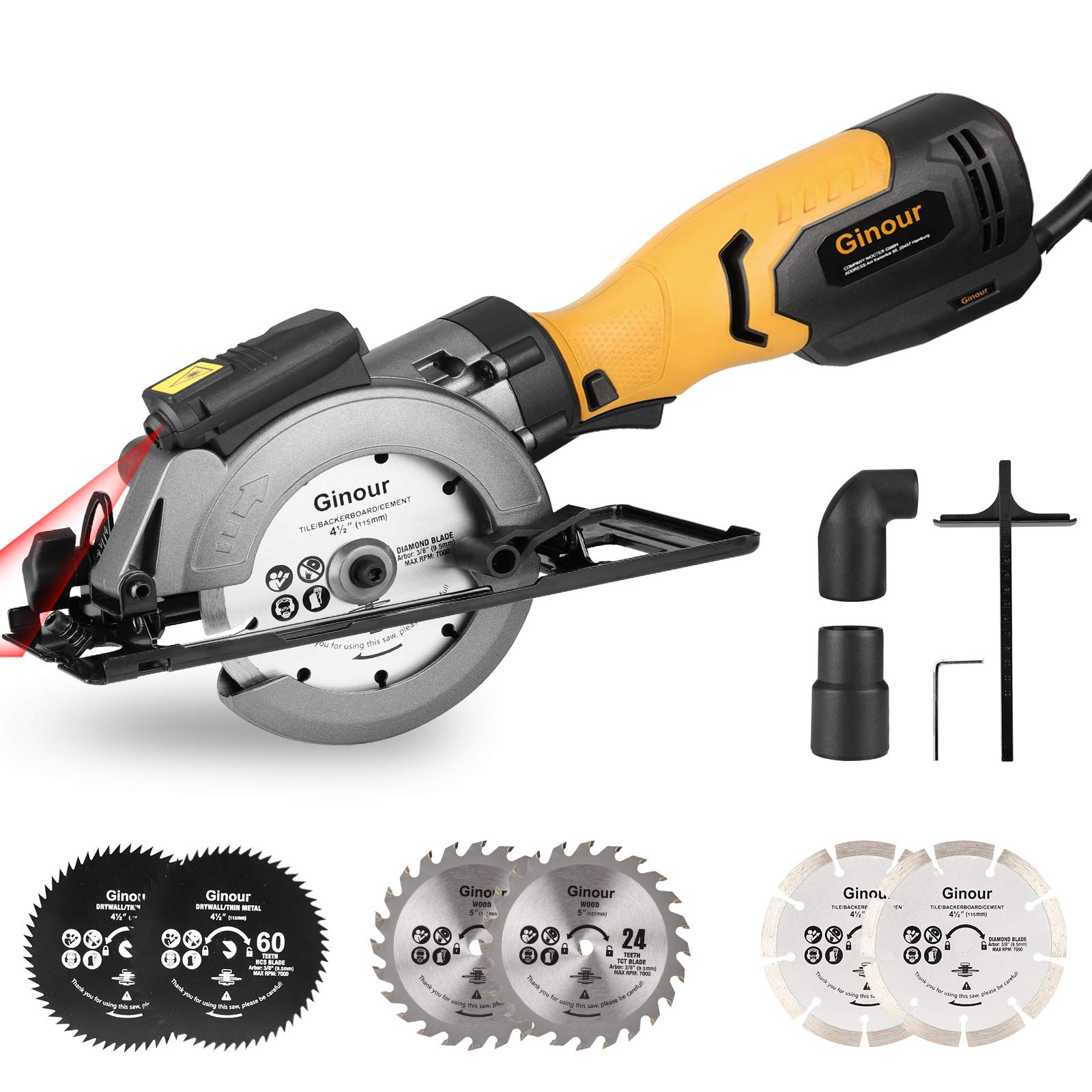 Circular Saw, Ginour 750W 3600RPM Mini Electric Circular Saw with Laser, Cutting Depth 0-48mm, 2 * 40T Saw Blades 125MM, 2 * 60T Saw Blades 115MM, 2 Diamond Saw Blade 116MM, Cutting Wood, Metal