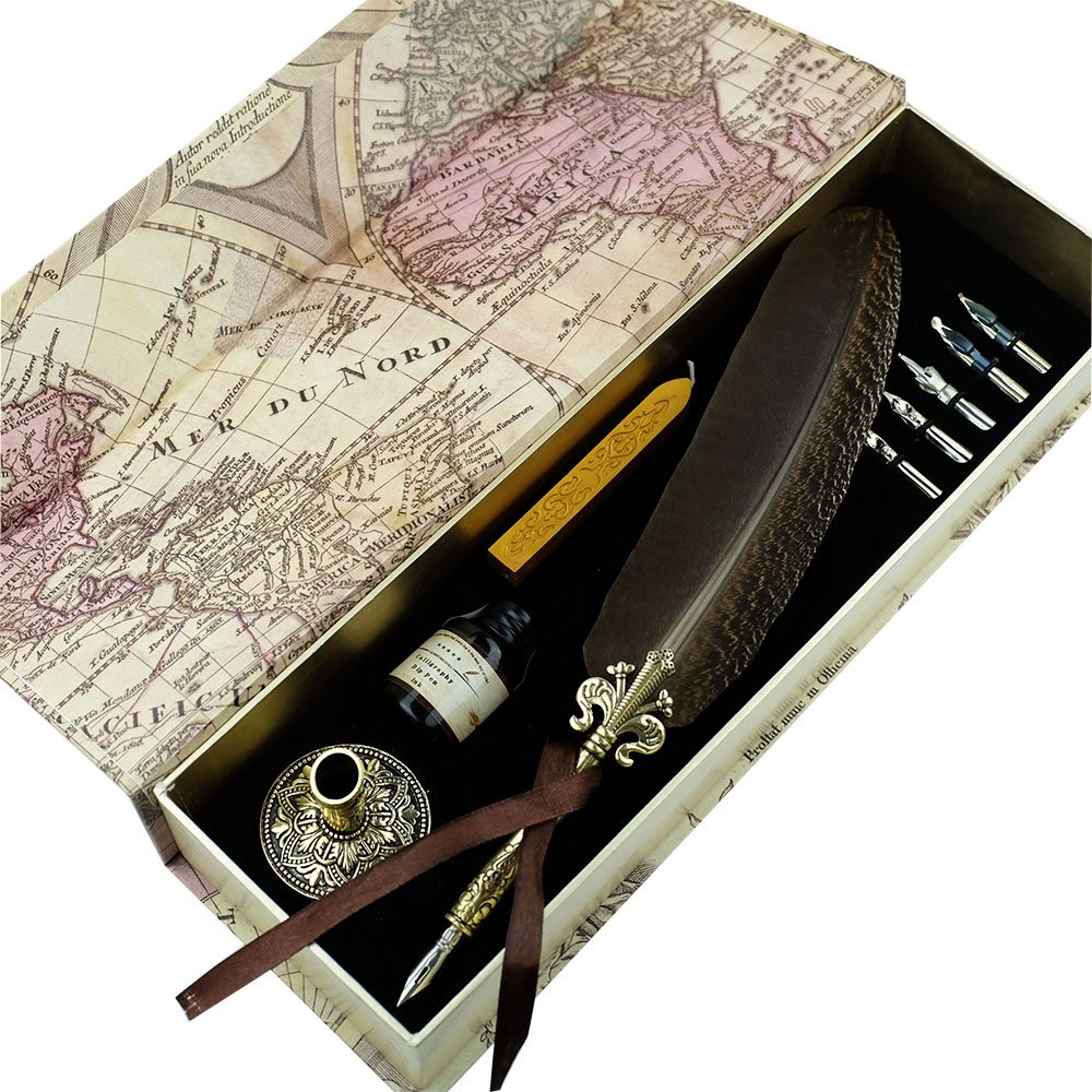 GC QUILL Feather Quill pen Set- 100% Hand Craft - Golden Calligraphy Pen Holder Hand Carved Dip Pen Stem Best Antique Executive Gift by GC QUILL (Image #1)
