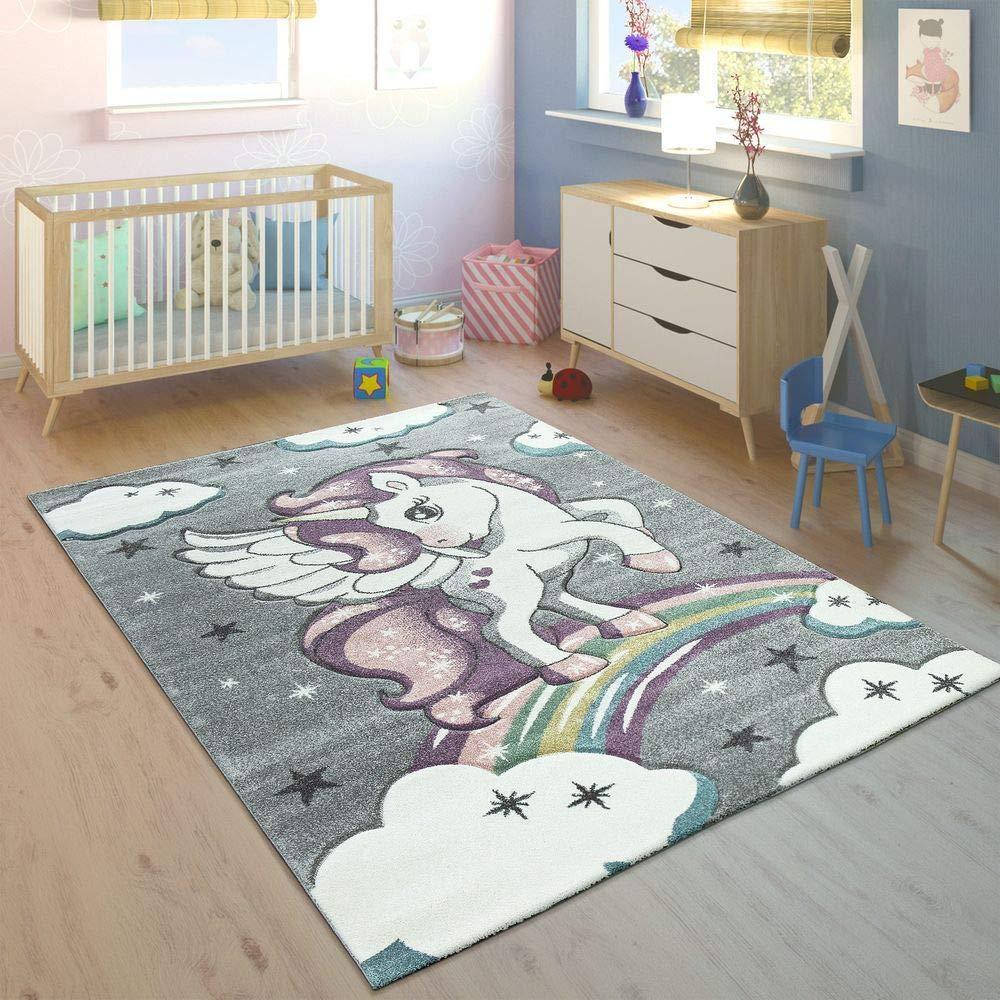 Paco Home Kinderteppich Kinderzimmer Konturenschnitt Regenbogen Einhorn Bunt Grau, Grösse:120x170 cm