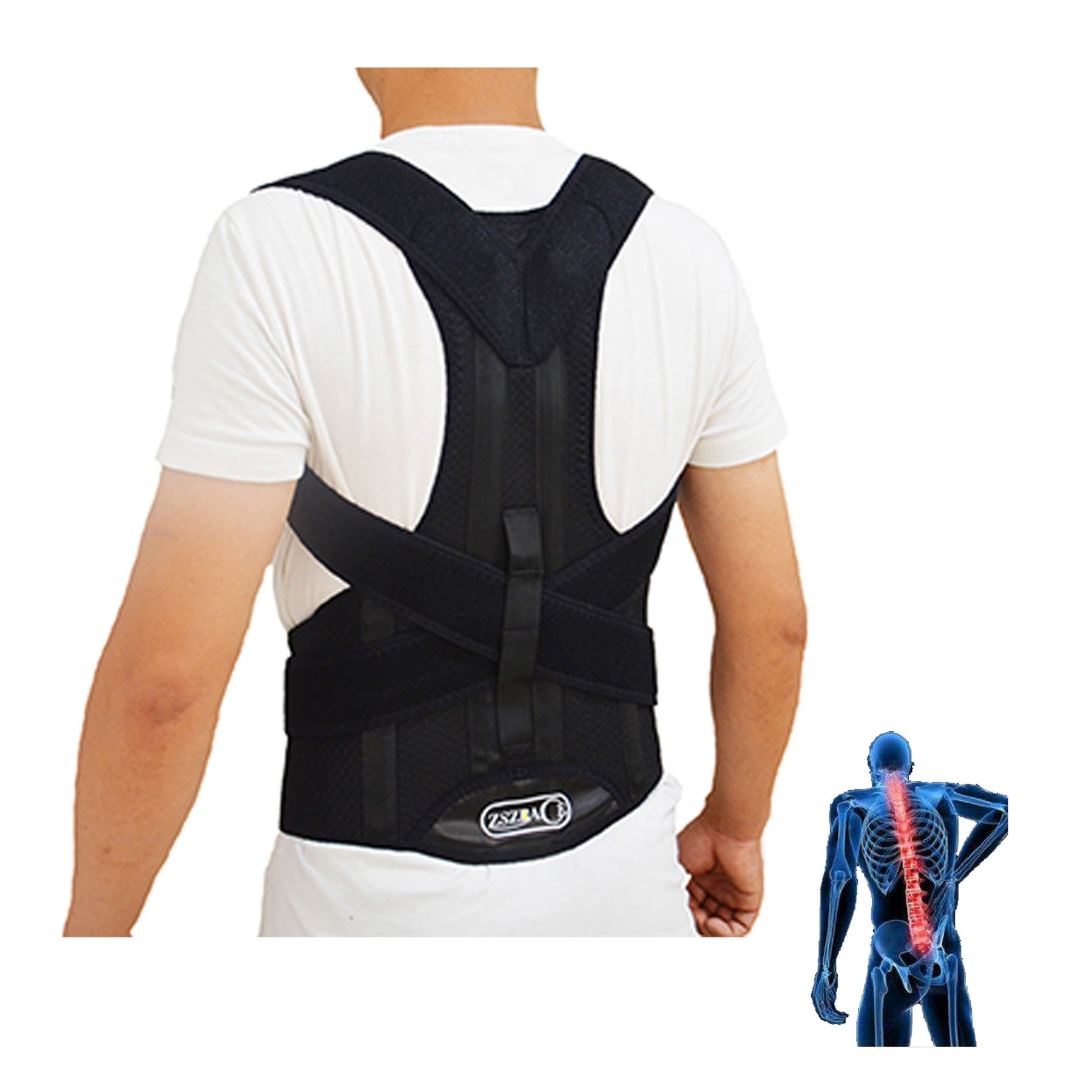 ZSZBACE Posture Corrector Under Clothes- Back Brace- Adjustable Clavicle Shoulder Support- Improve Posture& Slouching Correction- Shoulder, Back & Neck Pain Relief for Men and Women (L)