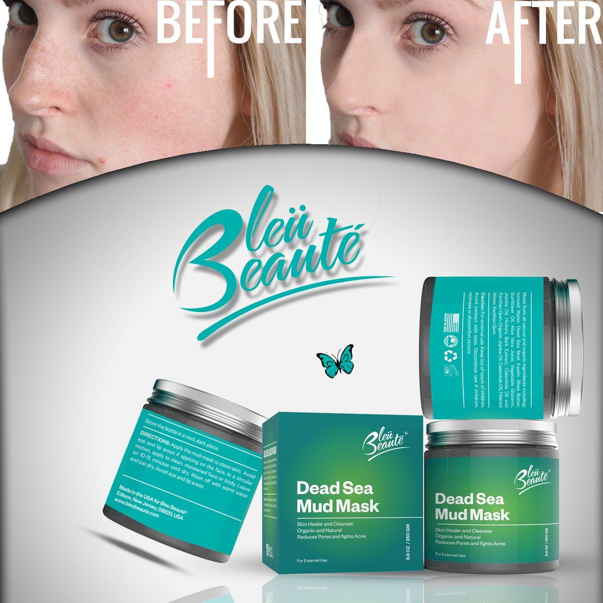 Bleu Beaute Mar Muerto Máscara facial de barro - reducción de las arrugas Restaura Natural Mineral Radiance infusión -desintoxica, exfolia e hidrata (8 ...