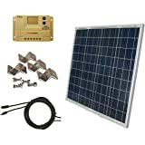 WINDYNATION Complete Solar 60 Watt Panel Kit: 60W Solar Panel + 20A LCD Display PWM Charge Controller + MC4 Connectors +Solar Cable + Mounting Brackets. 12V Battery off grid, RV, Boat, Gate