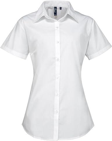 Premier- Camisa de trabajo de manga corta con popelín de gran calidad para mujer (50/Blanco): Amazon.es: Ropa y accesorios