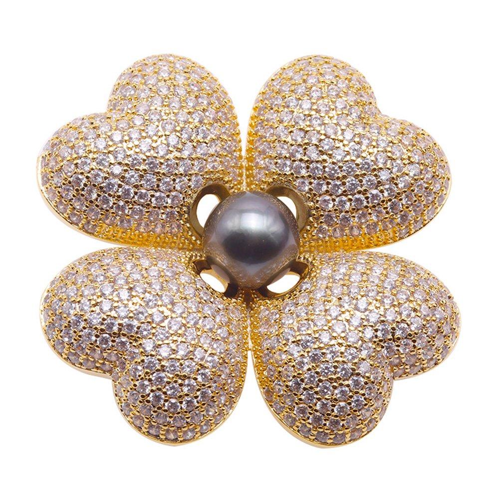 JYX Luxurious Pearl Brooch Series-Clover Design 9mm Black Tahitian Pearl Brooch Pendant