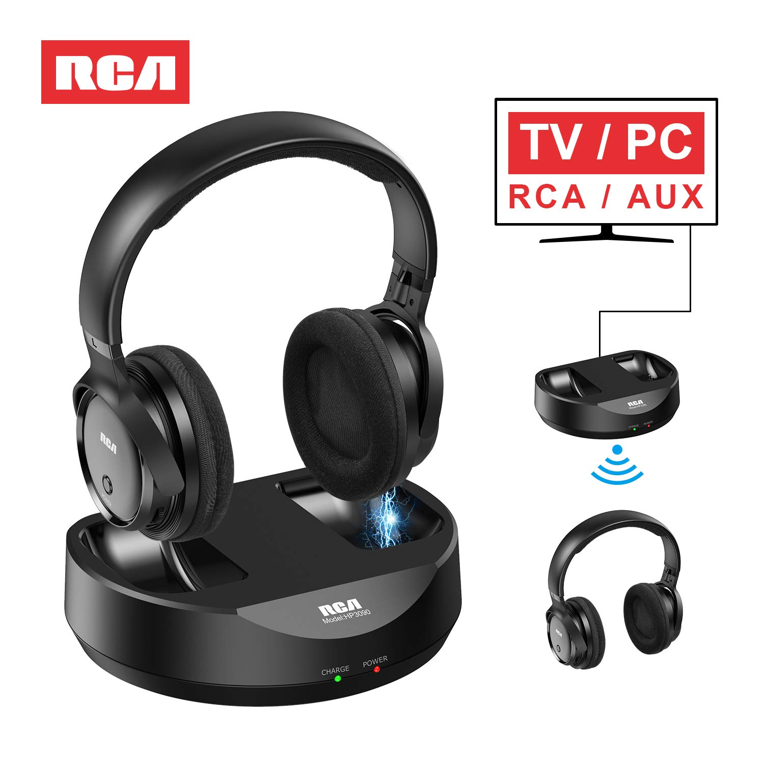 RCA Wireless TV Headphones, Over Ear Headphones for TV Watching, PC Phone MP3 iPod VCD DVD, Headphones for Seniors Hard of Hearing, 148ft/45M Range, Rechargeable and Adjustable by RCA