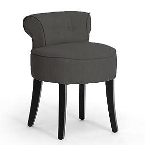 Baxton Studio Millani Gray Linen Modern Lounge Stool