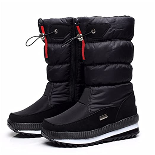 Women's Bootsnon-Slip Waterproof Platform Snow Boots Mid-Calf White 7