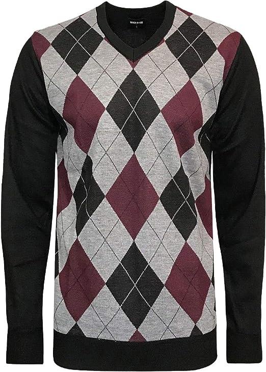 Whispering Jones London Mens Diamond Argyle River Road Jumper Knitted V Neck Sweater Pullover Soft Top