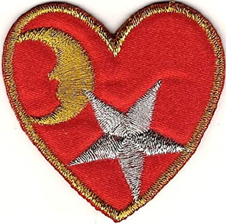 Celestial Metallic Gold Silver Star Moon Red Heart Embroidery Patch