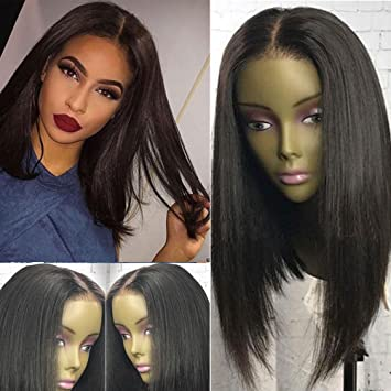 Short Bob Human Hair Wigs For Black Women Lace Front Wigs Silky Straight With Baby Hair