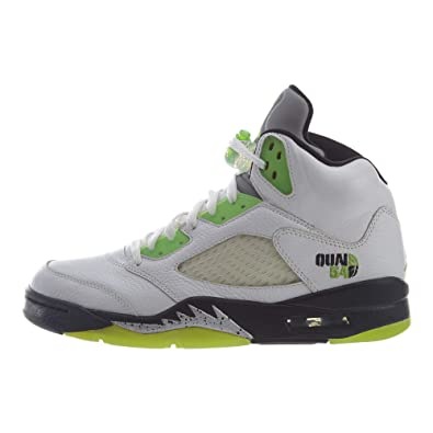 size 40 c77f2 817b6 Nike Mens Air Jordan 5 Retro Q54 Quai White Radiant Green-Black-Metallic