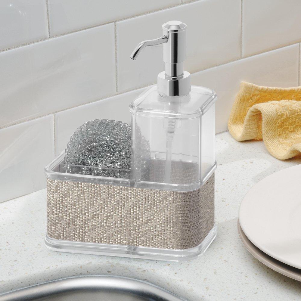InterDesign Twillo rangement /évier distributeur savon avec compartiment argent/é grand distributeur de savon en plastique