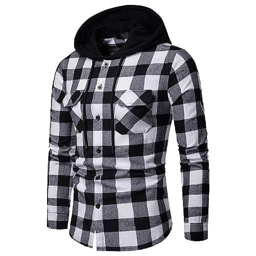 JXG Men Casual Long Sleeve Slim Button Up Plaid Shirts