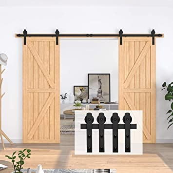 Easy to Install,Slide Smoothly and Quietly Fit Double 30 Wide Door 10FT Heavy Duty Sturdy Sliding Barn Door Hardware Kit for Double Door T Shape Hanger